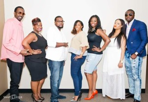 "The panel set the atmosphere for open and honest dialogue at the singles event ""The Reality of Faling While I Wait"" May 7, 2016. (From left to right) Panelists Kenny Millz, Tiffany N. Webb (Event Planner), John Momplasir, Francine White, Fanny Quioto (Host), Toya Exnicious, Nyan Boateng. Courtesy of Snaplique Productions."